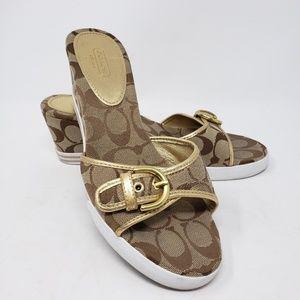 Coach tan gold sneaker heels size 9.5
